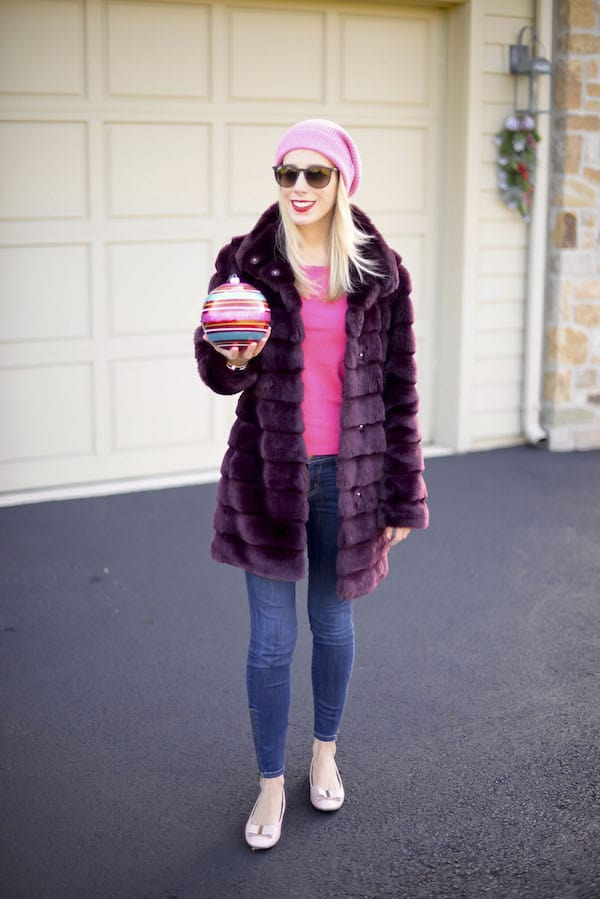 Pink Beanie and Faux Fur Coat