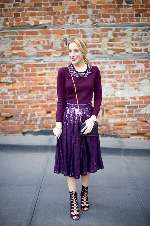 Purple Sequin Maxi Skirt