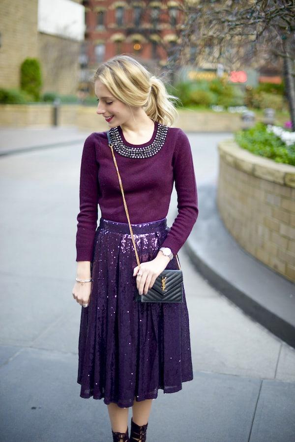 Purple Sequin Midi Skirt