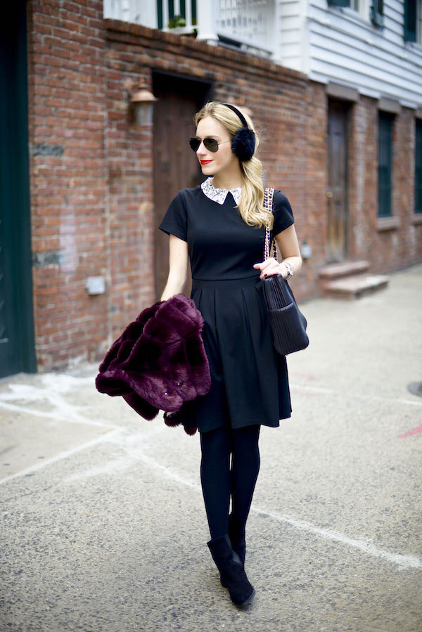 Black Embellished Collar Fit Flare Dress