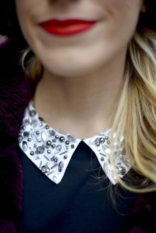 Black Embellished Collar Fit Flare Dress_2
