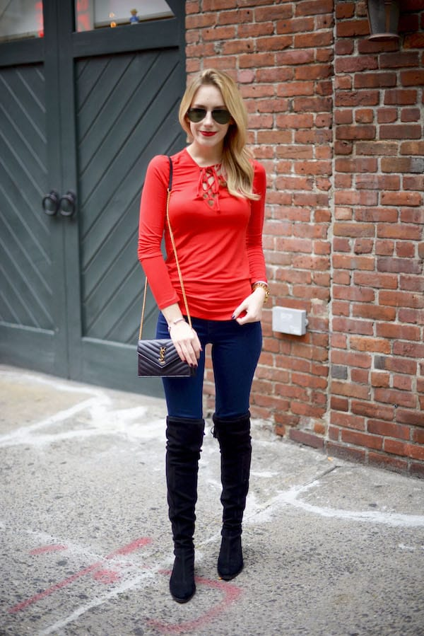 Lace Up Long Sleeve Top
