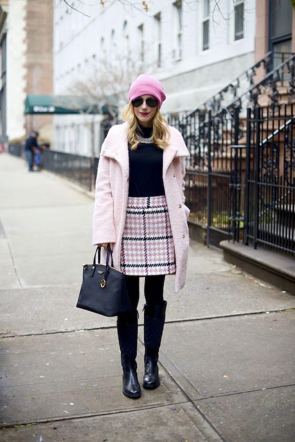 Topshop Pink Check Mini Skirt