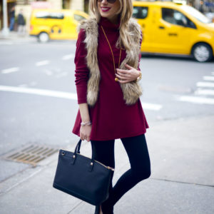 Cotton Turtleneck Tunic Dress