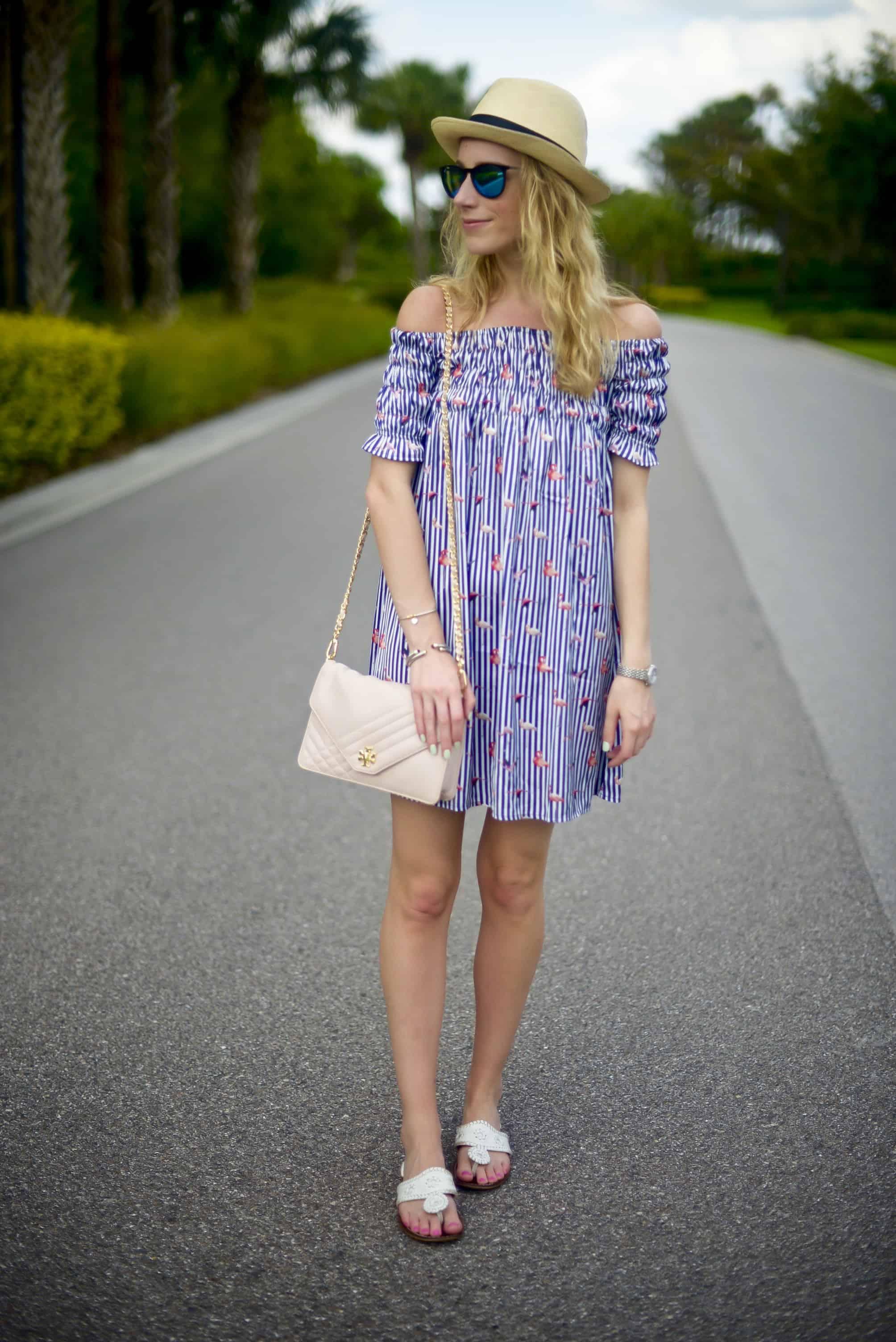 ChicWish Flamingo Off Shoulder Dress