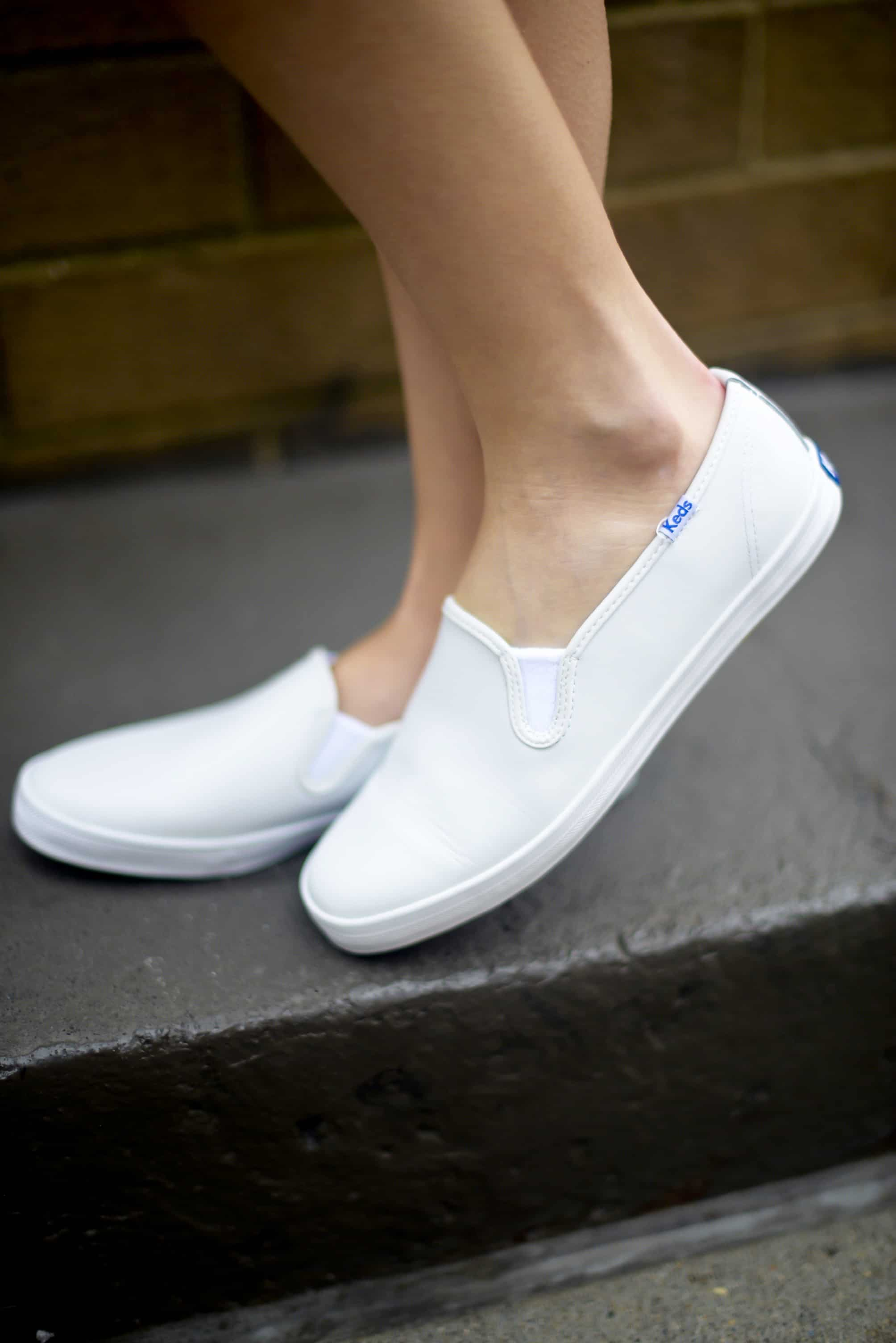 white slip on keds for girls