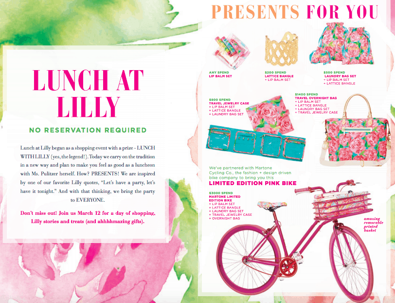 Lunch at Lilly Promotion Gifts with Purchase