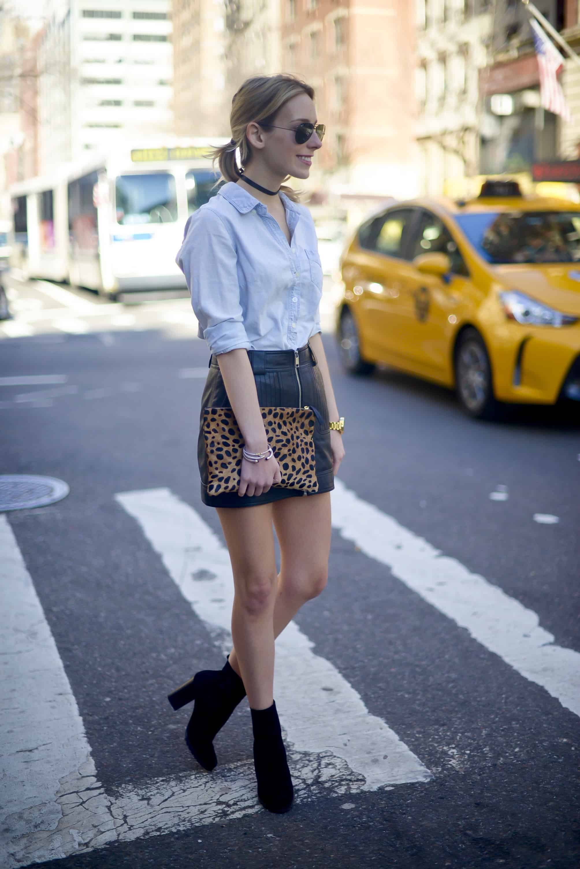 Topshop Leather Mini Skirt