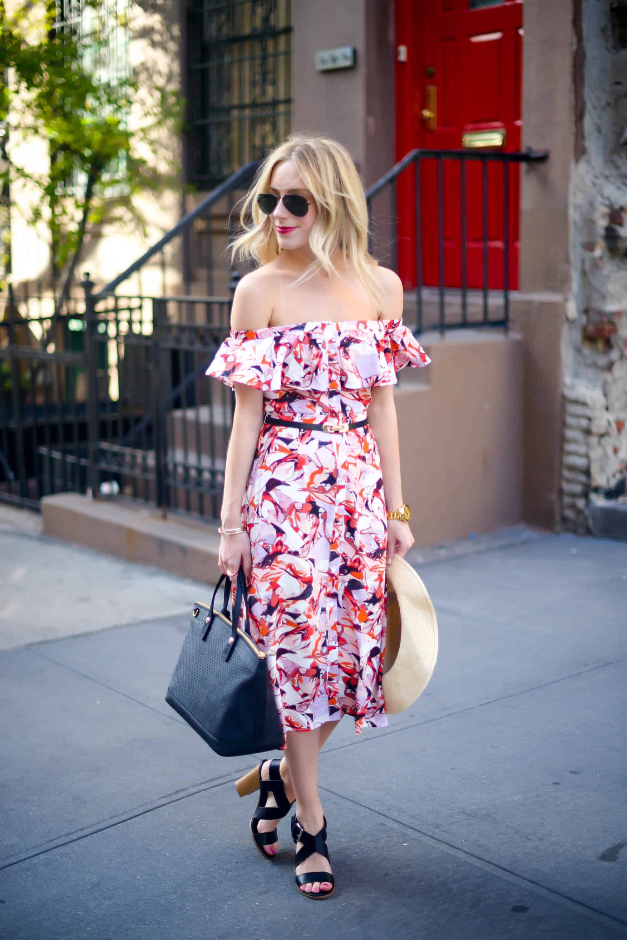 Lost Ink Off Shoulder Dress