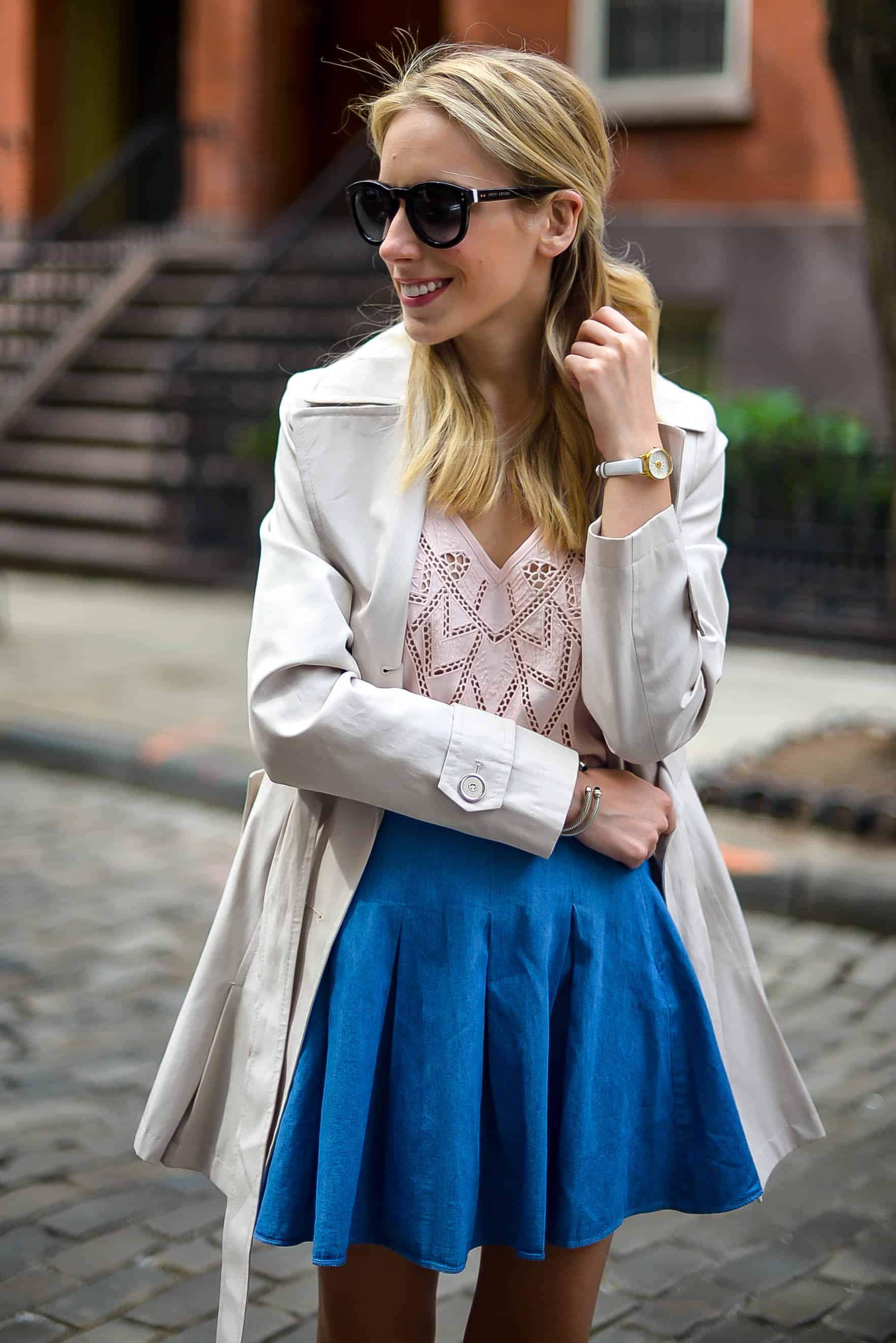 ASTR Pink Lace Tank & Denim Skater Skirt