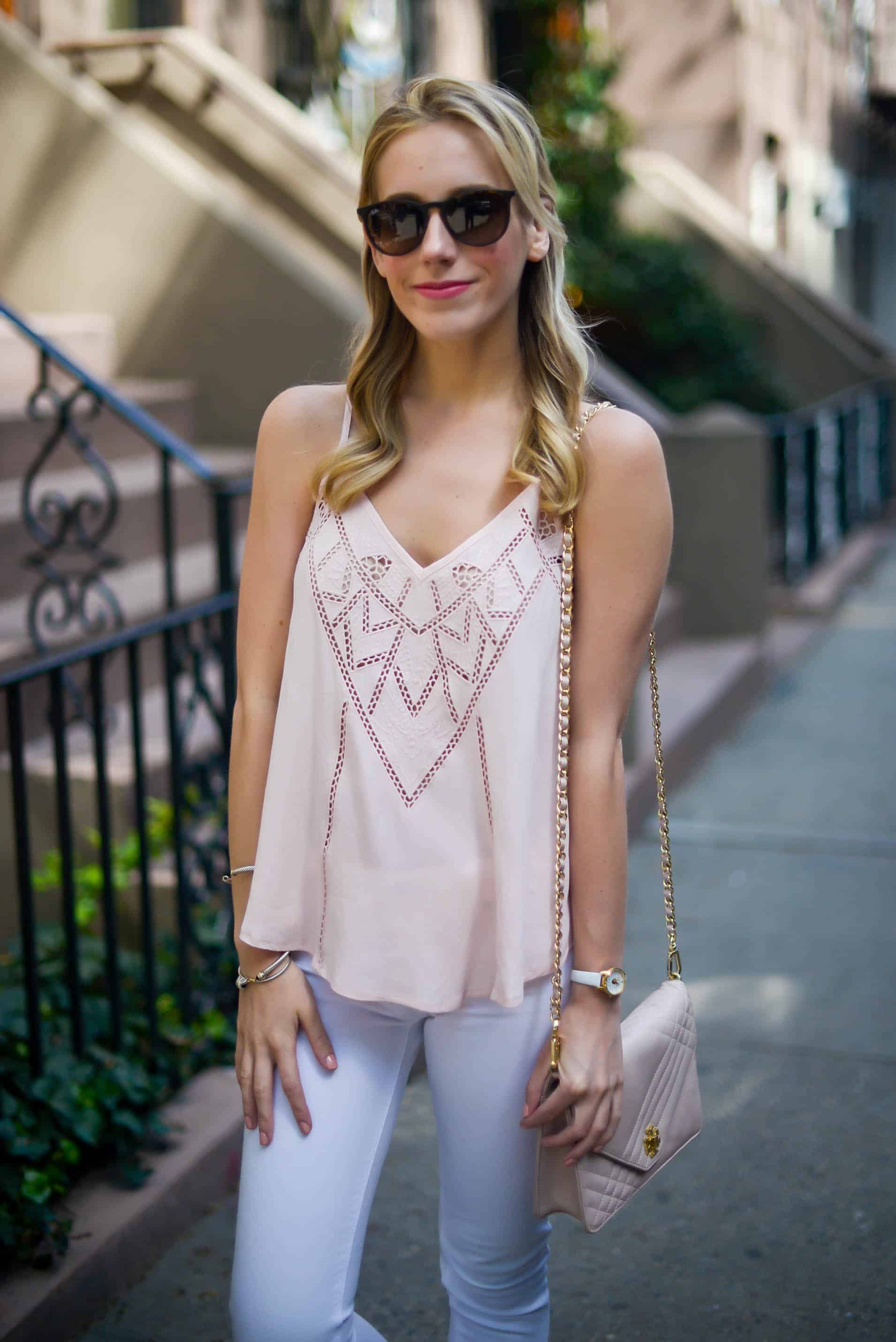 ASTR Pink Lace Tank & White Jeans