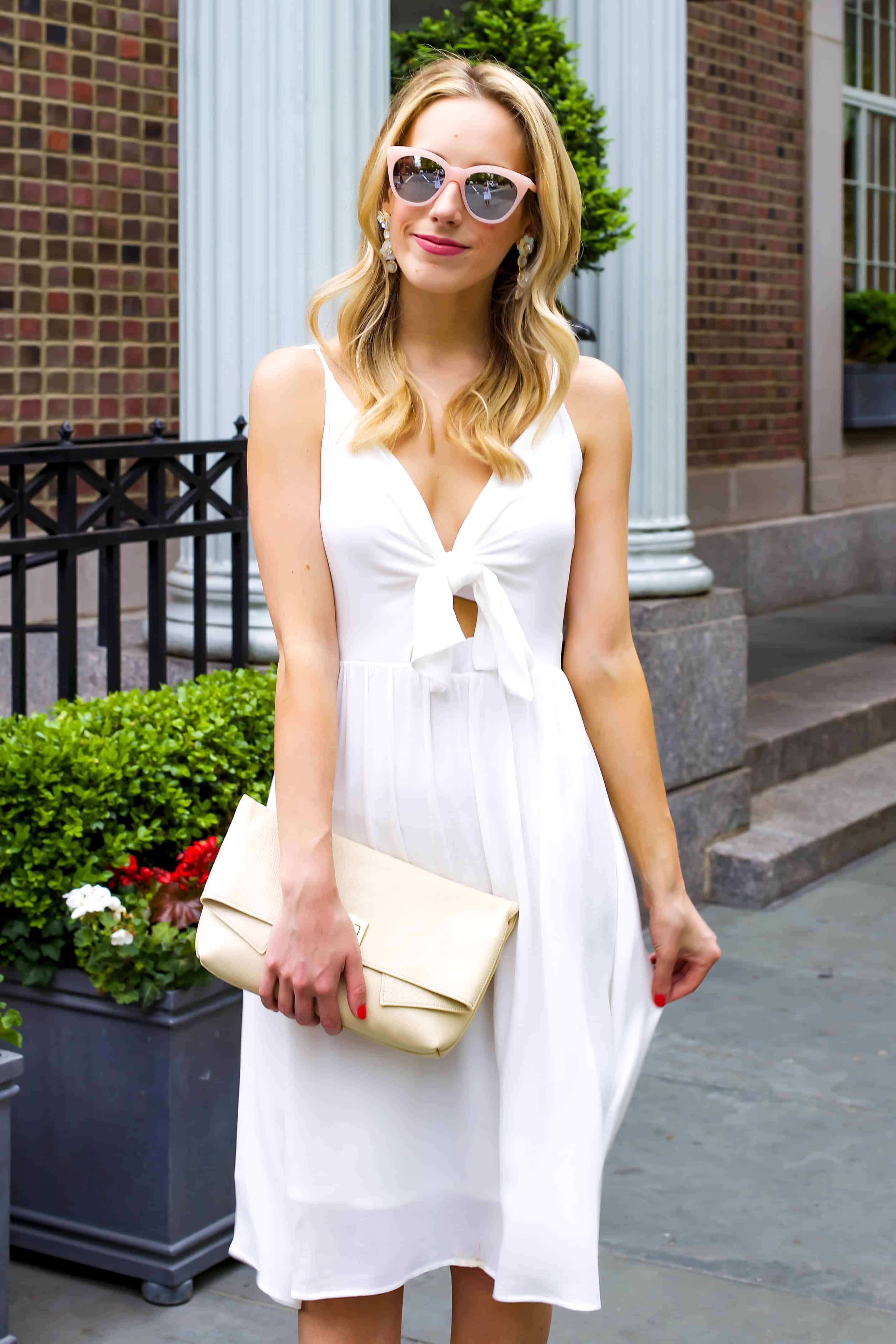 Leith White Tie Front Dress