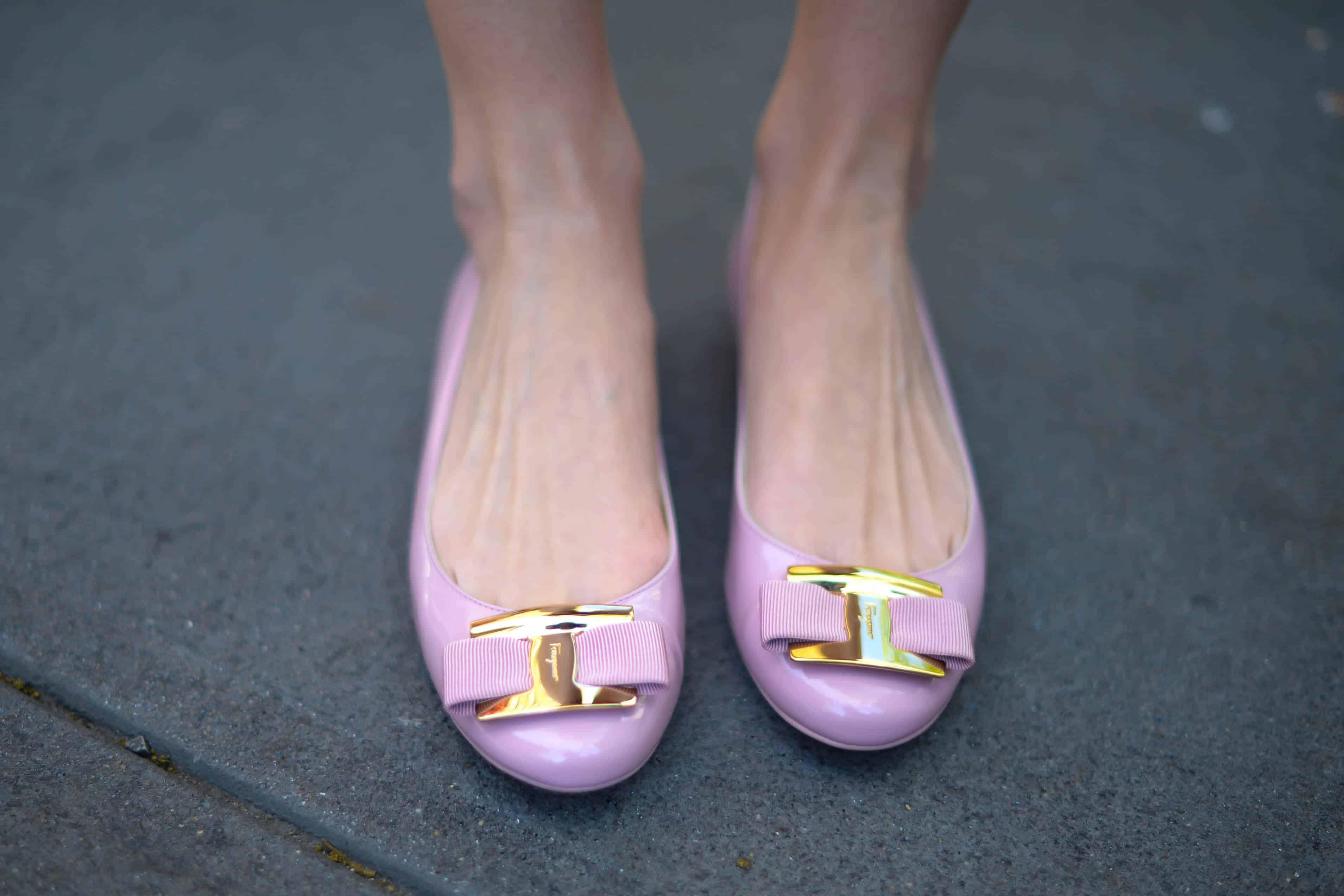 Salvatore Ferragamo Pink Bow Ballet Flats