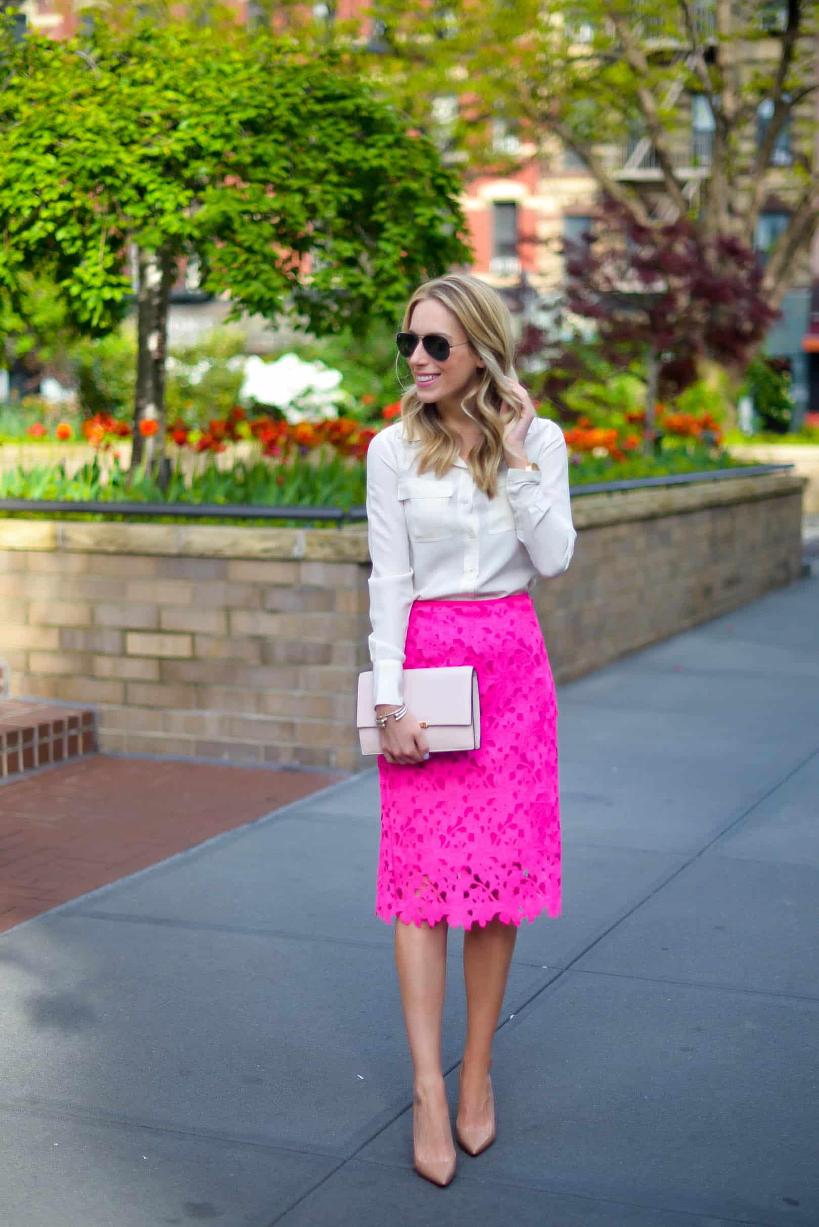 Vince Camuto Pink Lace Pencil Skirt