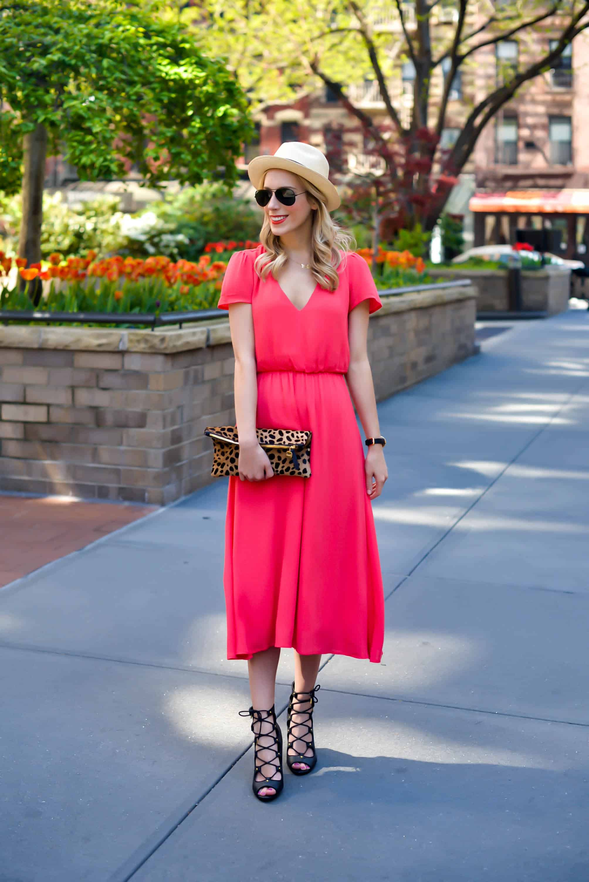 Wayf Red Midi Dress