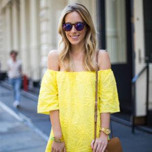 BB Dakota Yellow Off Shoulder Dress