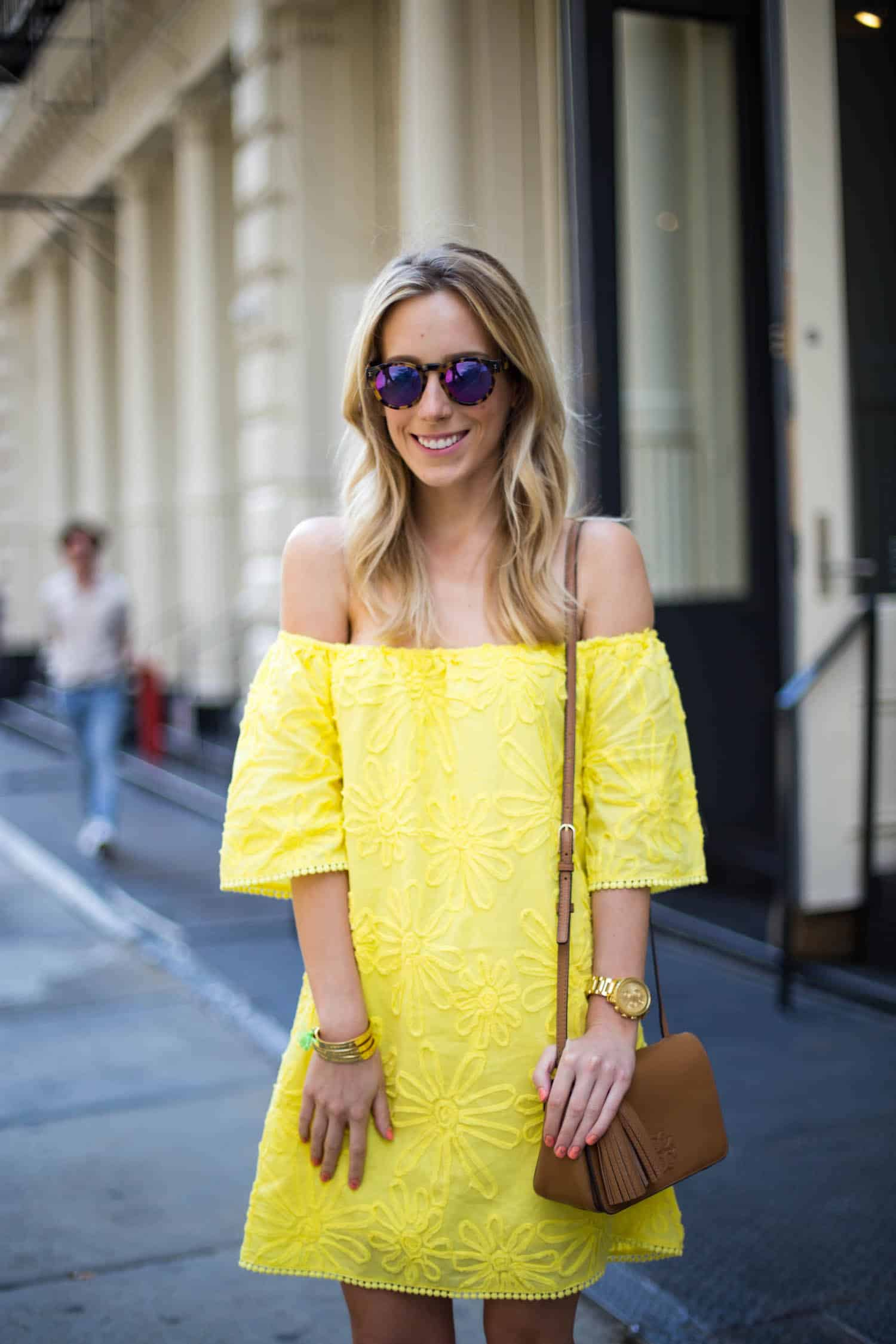 BB Dakota Yellow Off Shoulder Dress