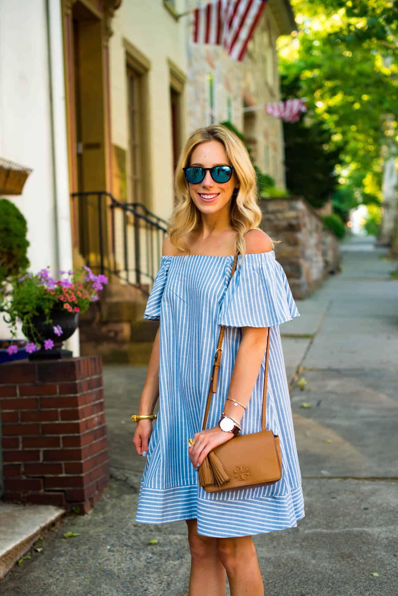 Chicwish Off Shoulder Stripe Dress