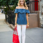 Off The Shoulder Chambray Top