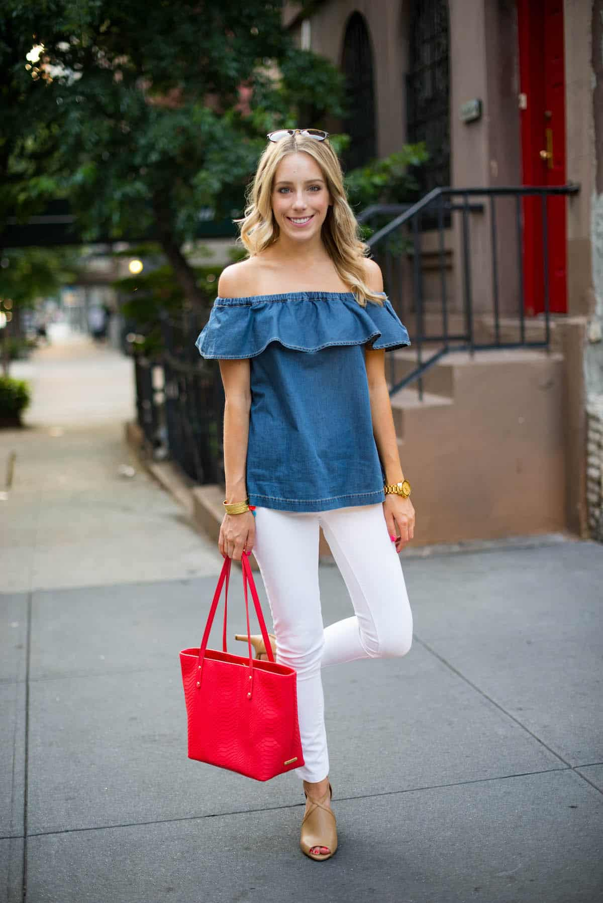 Off The Shoulder Chambray Top ...
