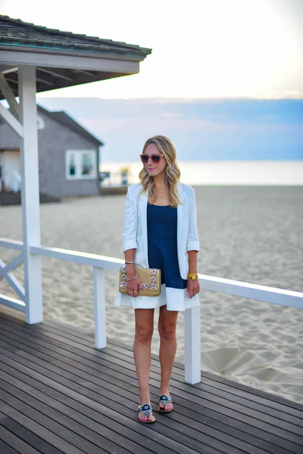 Navy & White Fit Flare Dress