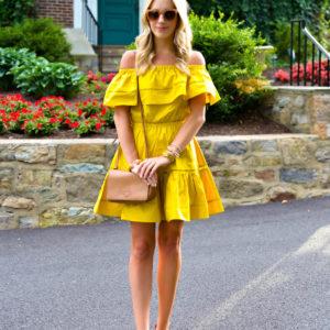 ChicWish Mustard Off Shoulder Dress
