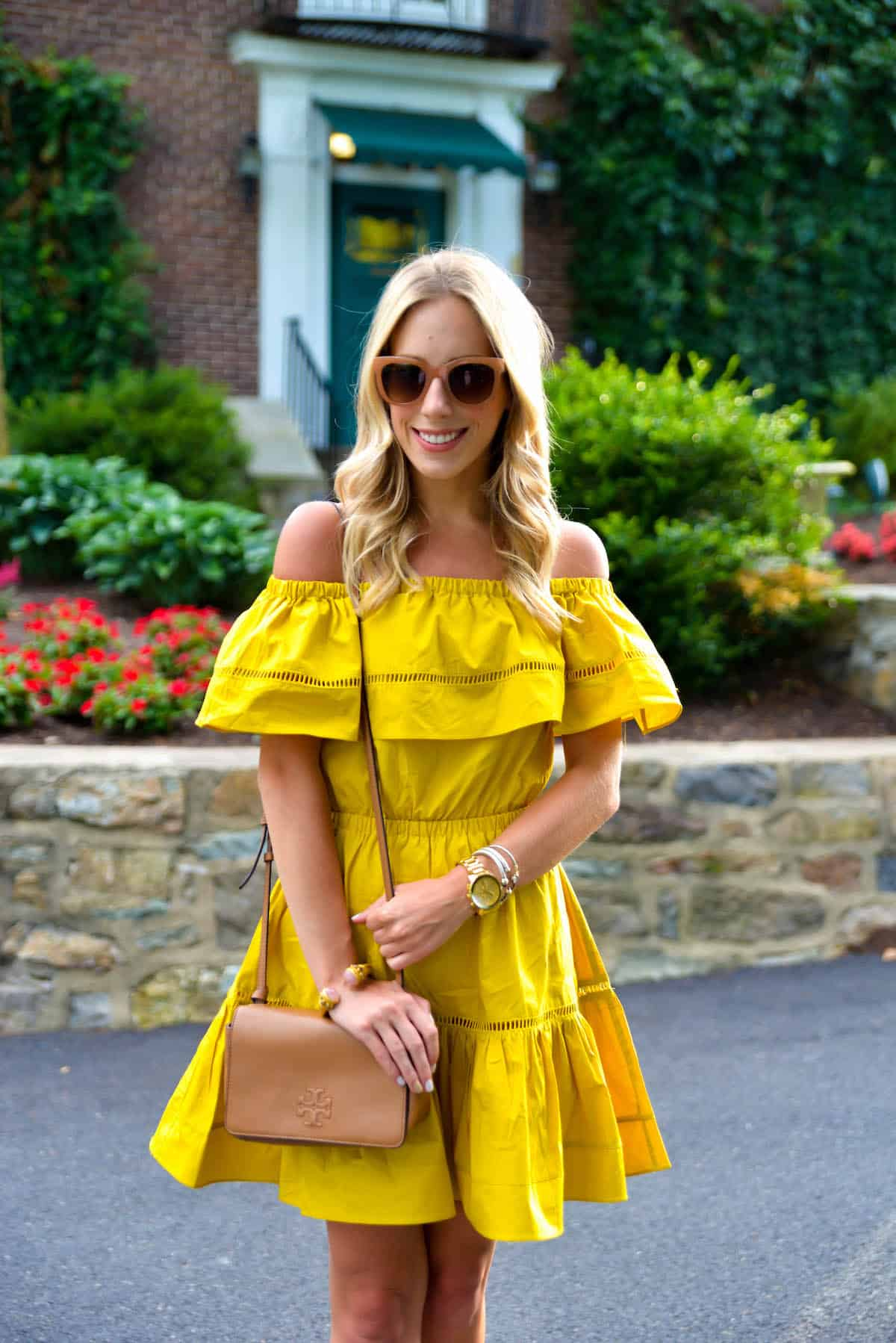 ChicWish Mustard Off Shoulder Dress