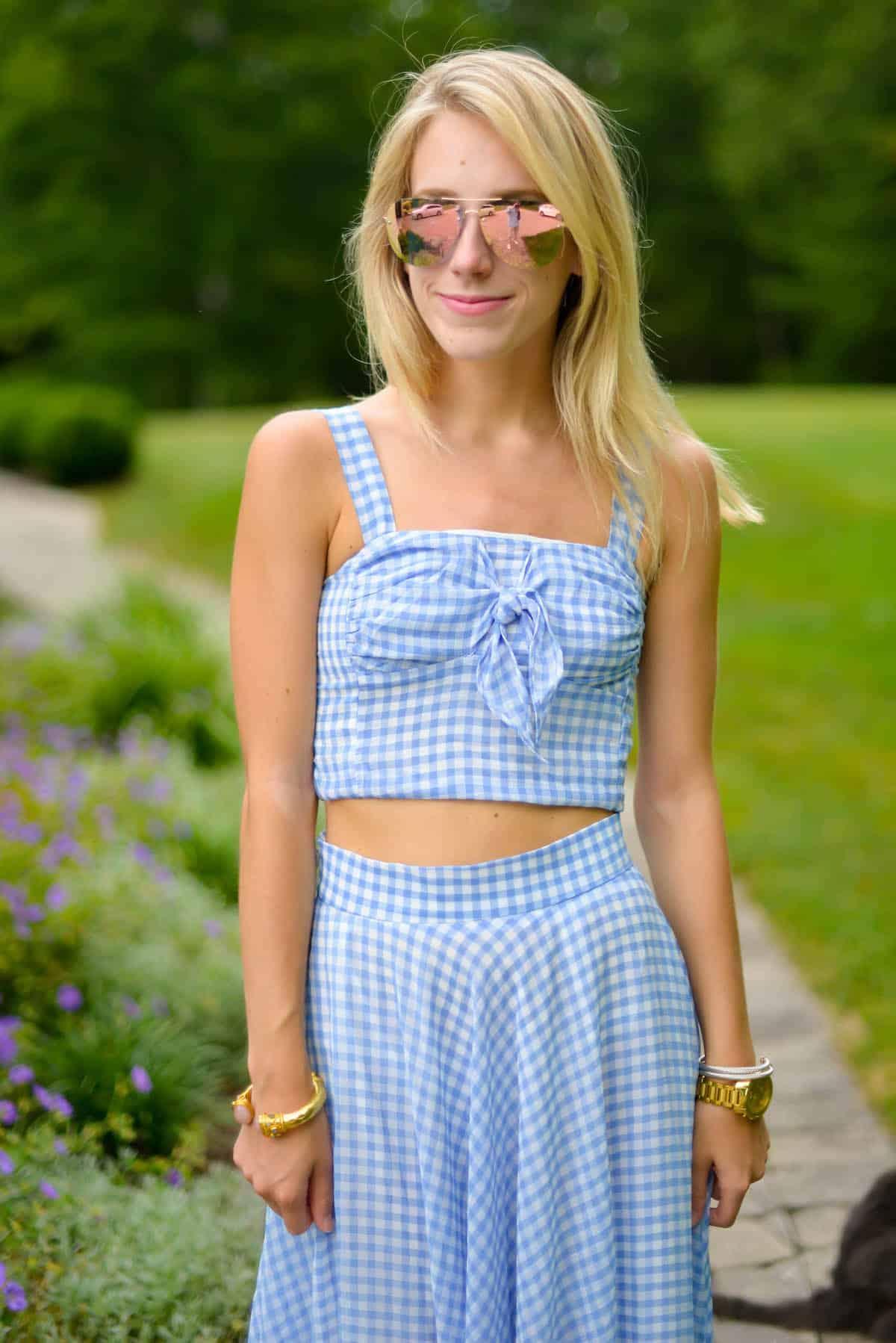 Gingham Crop Top Skirt Set