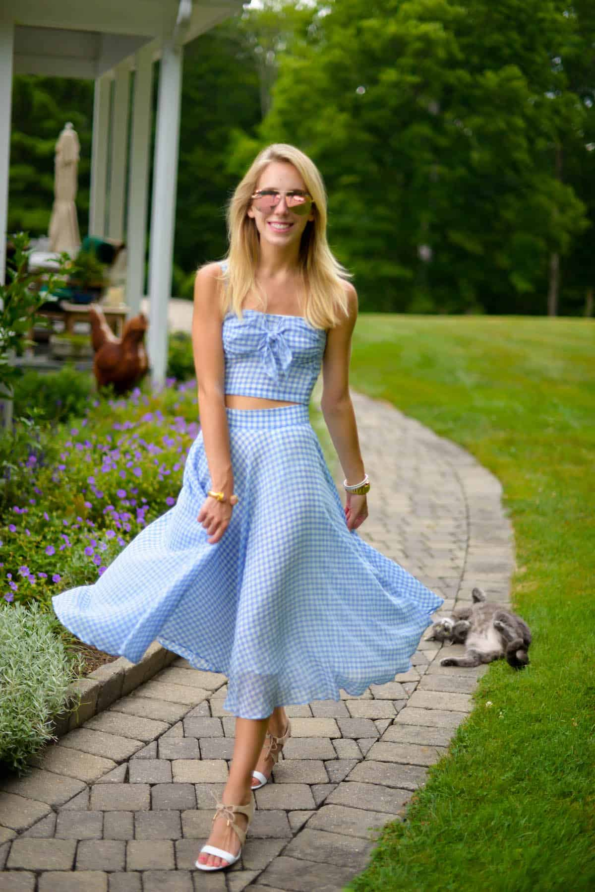 e0be45f54ff91 Gingham Crop Top and Skirt Set | Katie's Bliss