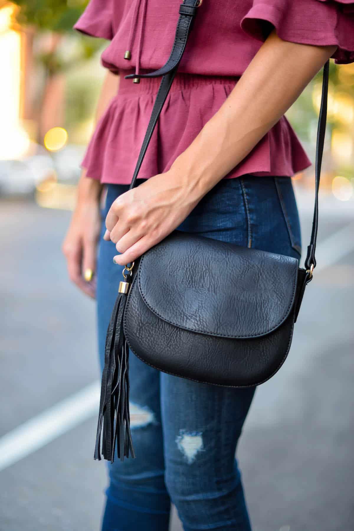 Tassel Faux Leather Crossbody Bag