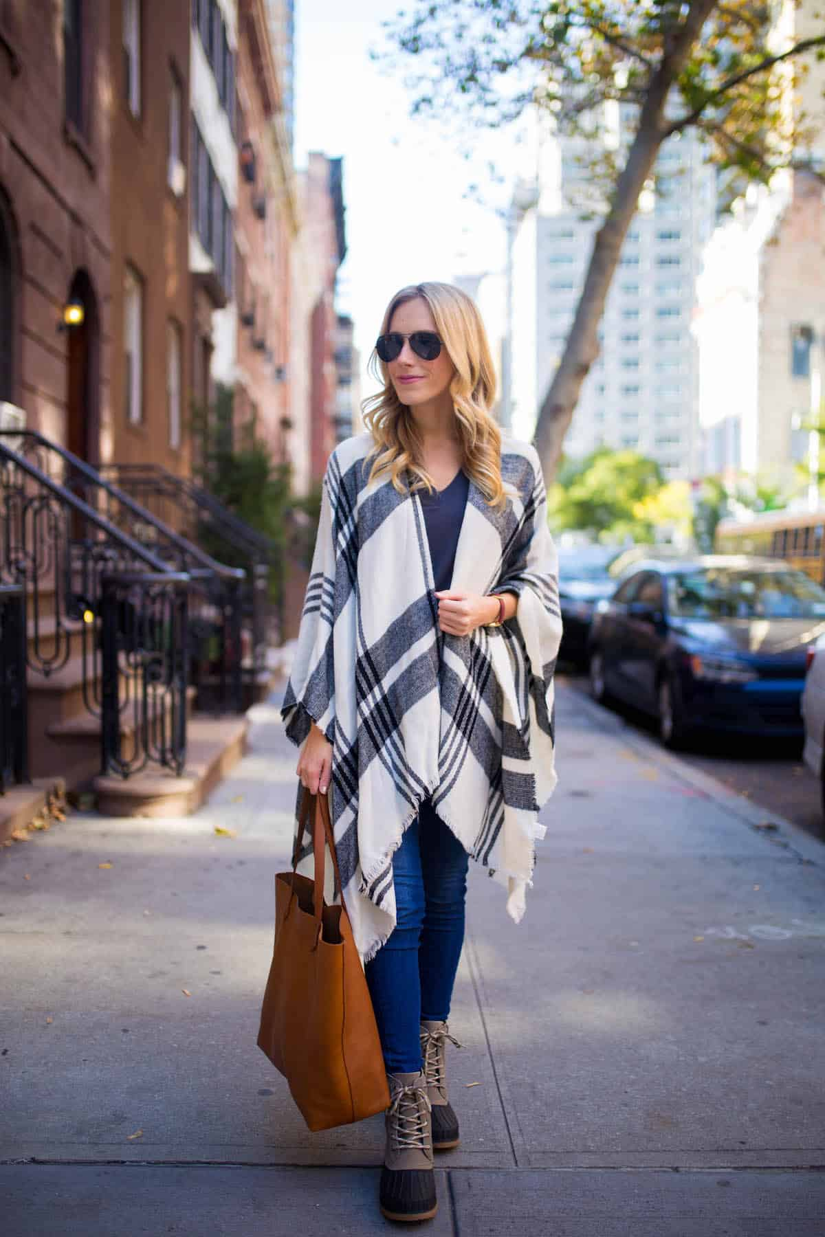 Black & White Plaid Poncho