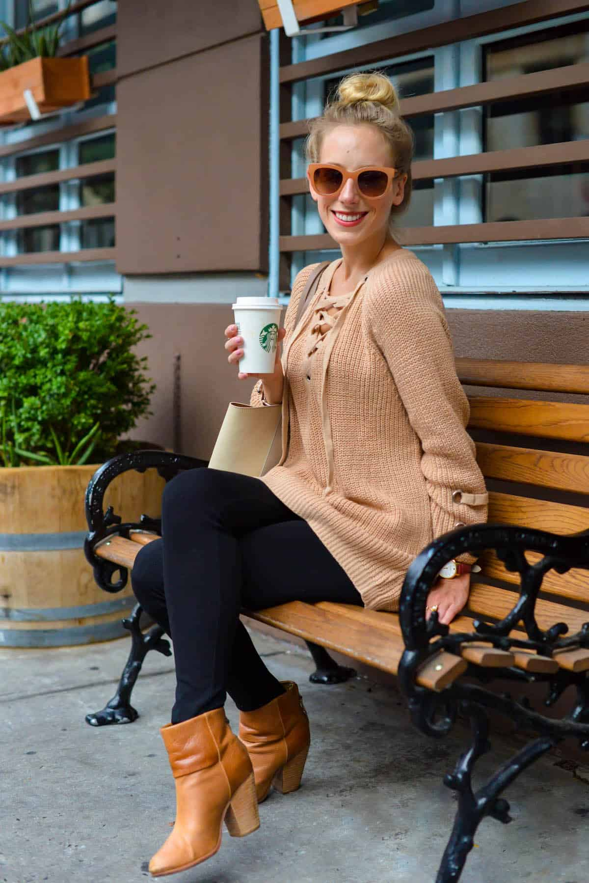 Chicwish Camel Lace-Up Sweater