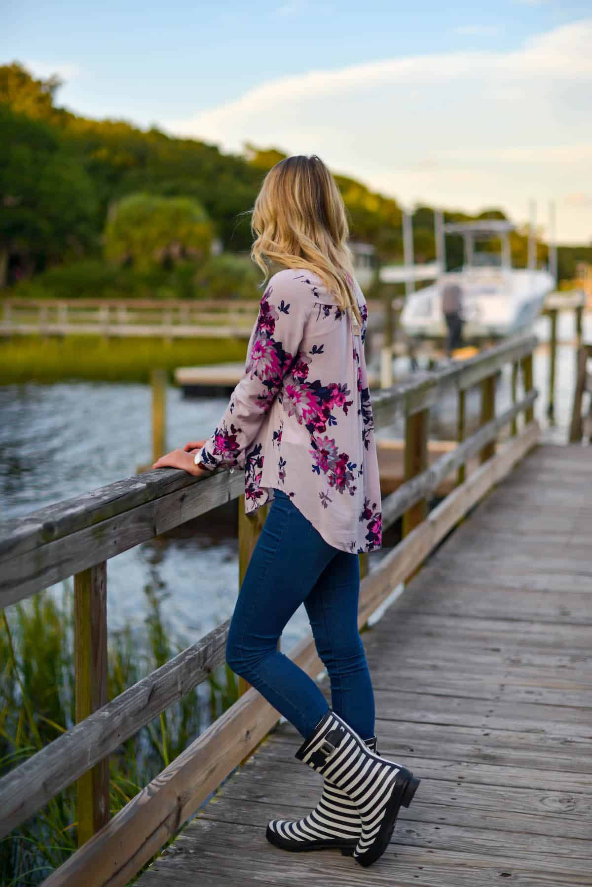 Joules Floral Pop Over Blouse
