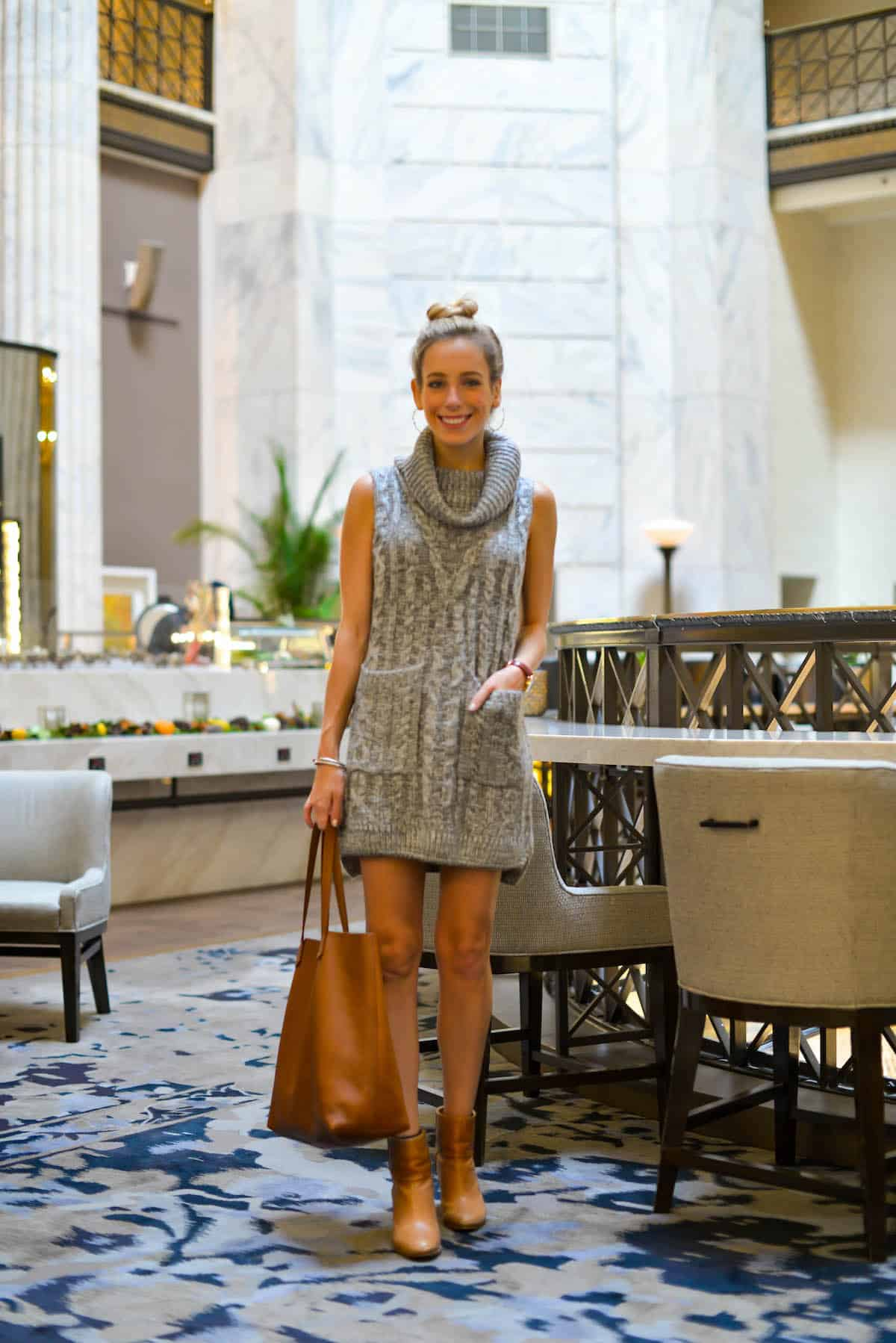 Grey Cowl Neck Sweater Dress
