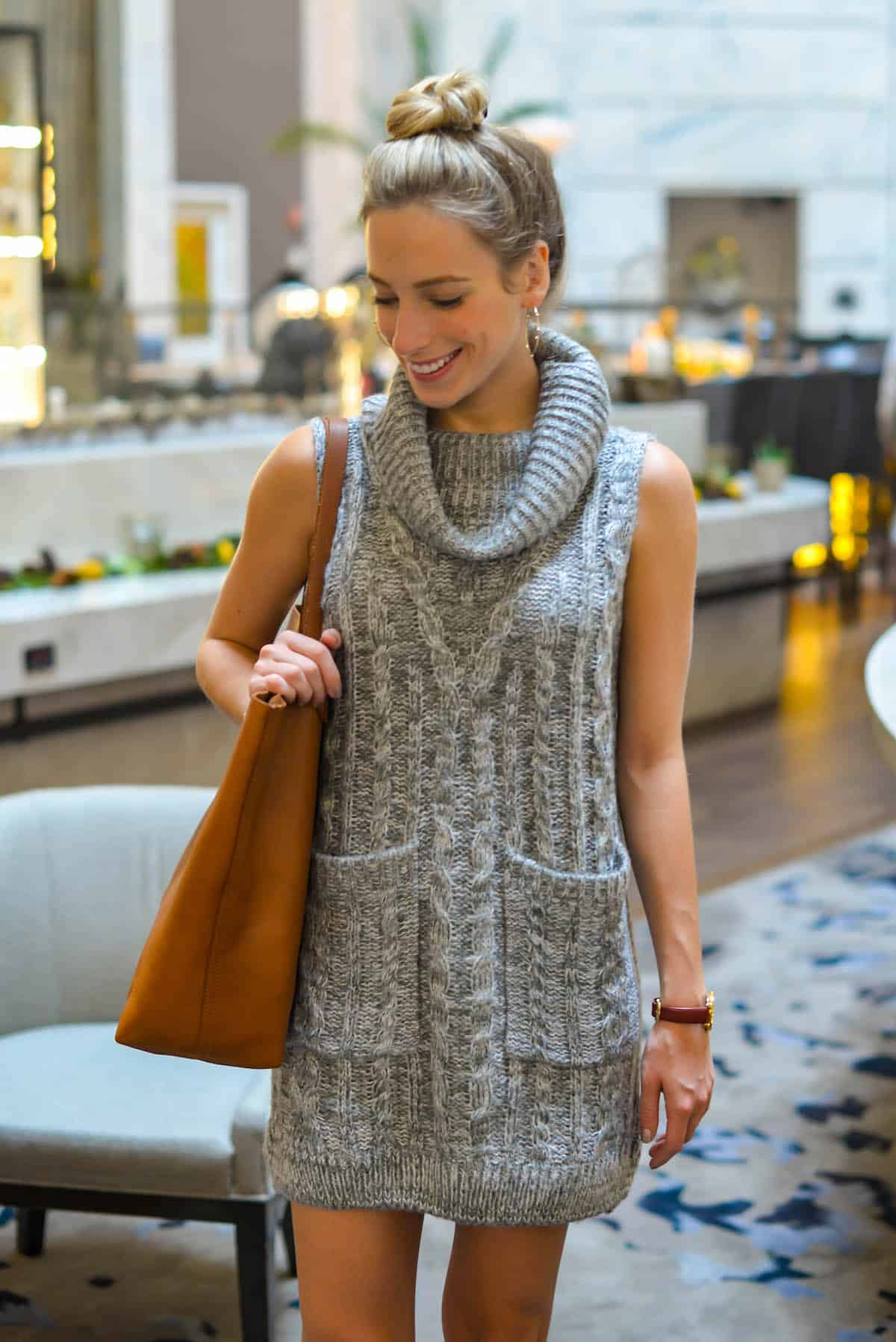 82e3a331182 Grey Cowl Neck Sweater Dress
