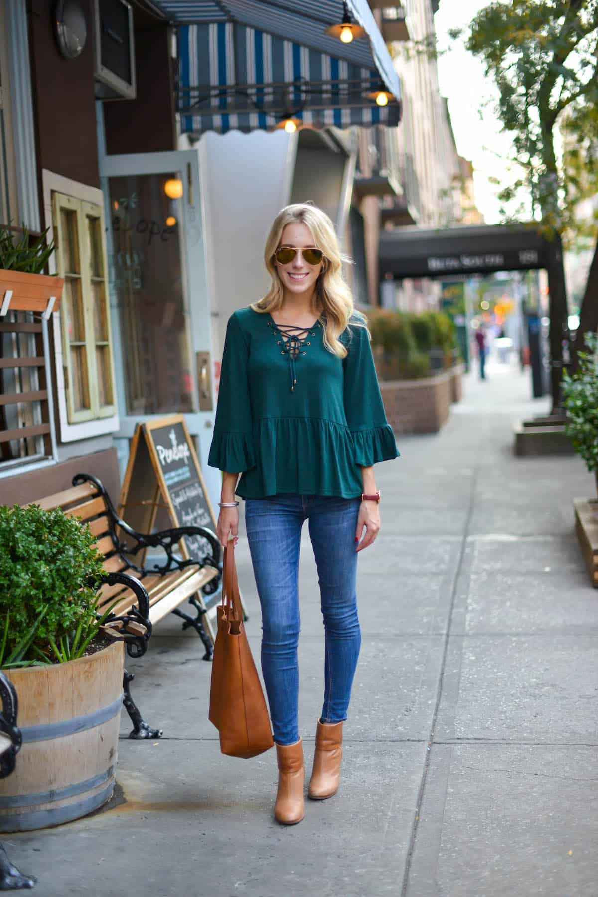 859bd60bd57 New Madewell Transport Tote   Green Bell Sleeve Top