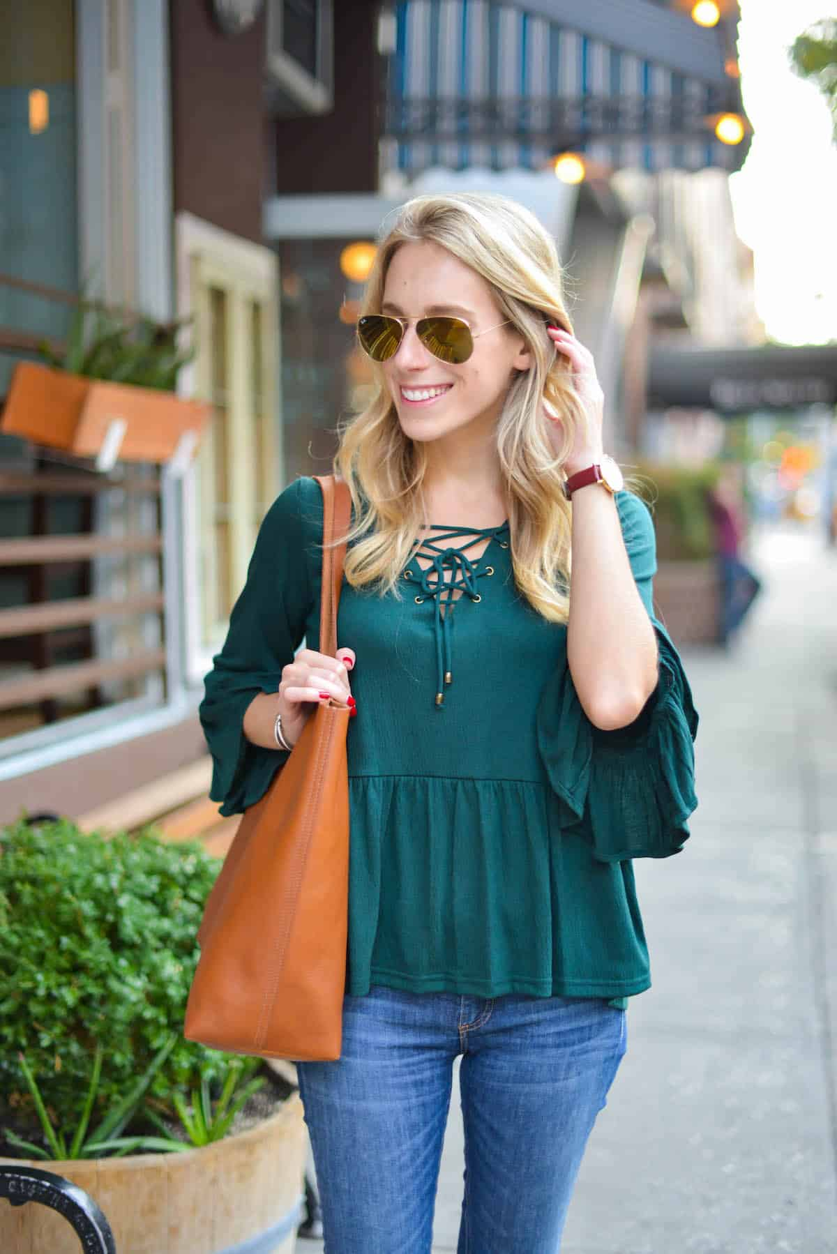Green Lace-Up Bell Sleeve Top