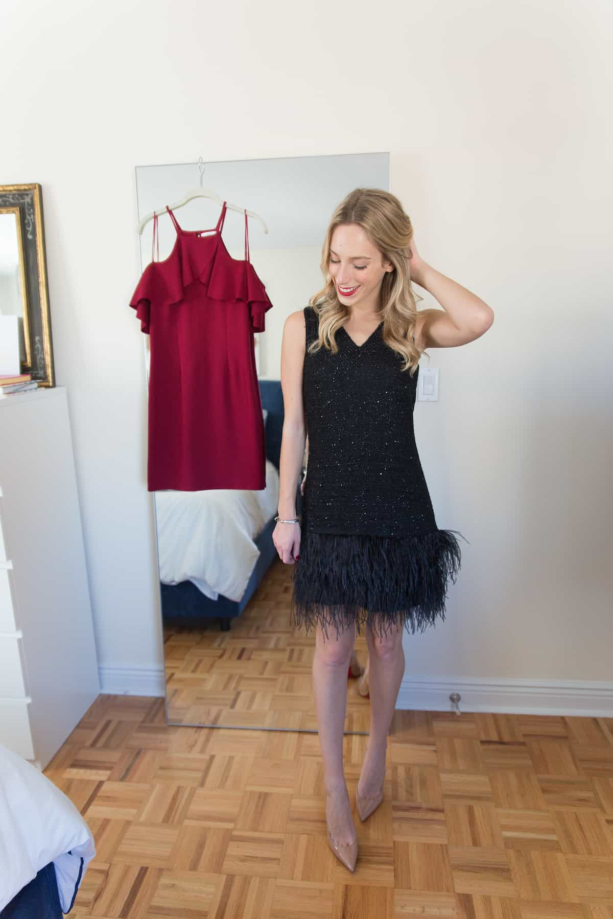 Black Feather Cocktail Dress