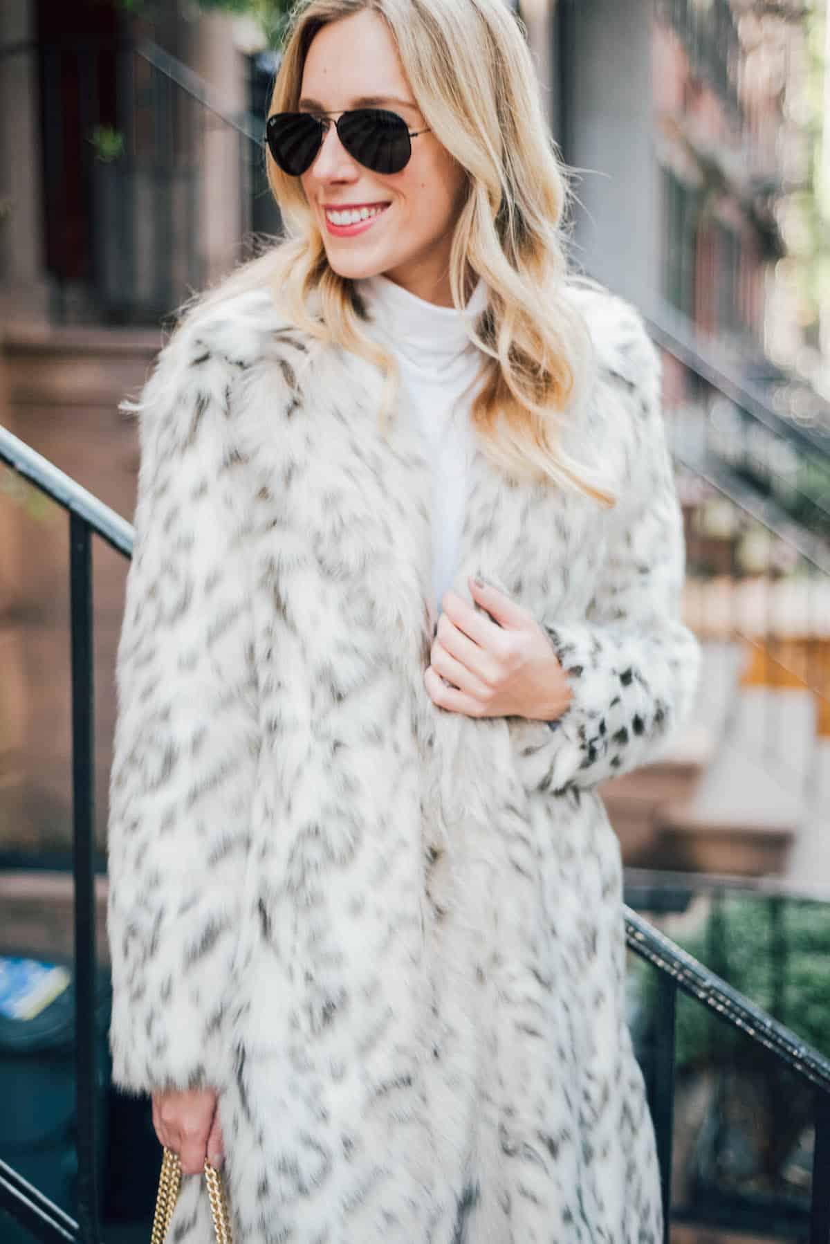Eliza J Faux Leopard Fur Coat