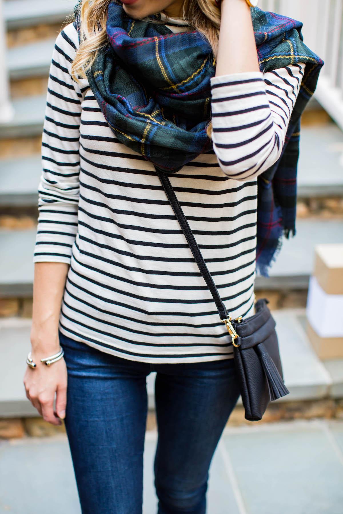 Stripe Shirt Plaid Blanket Scarf