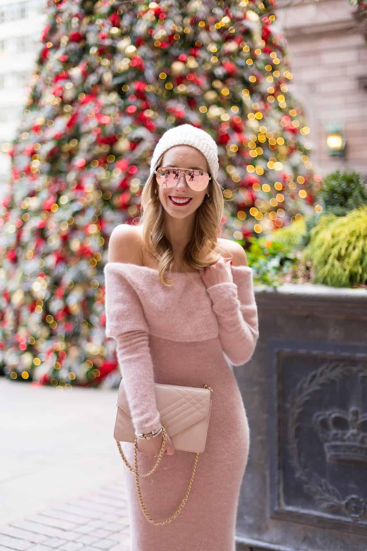 deb03926dd8 Pink Off The Shoulder Sweater Dress Pink Off The Shoulder Sweater Dress
