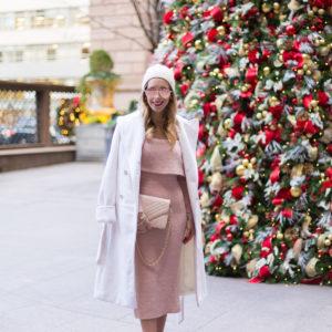 Pink Off The Shoulder Sweater Dress