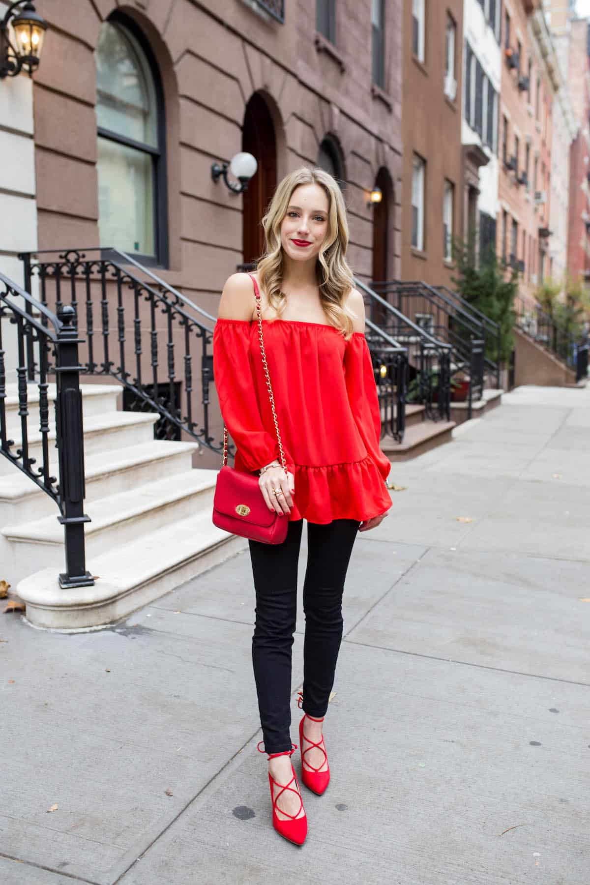 Red Off The Shoulder Peplum Top