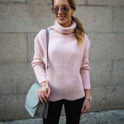 Chunky Pink Turtleneck Sweater