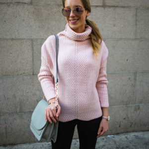 Chunky Pink Turtleneck Sweater