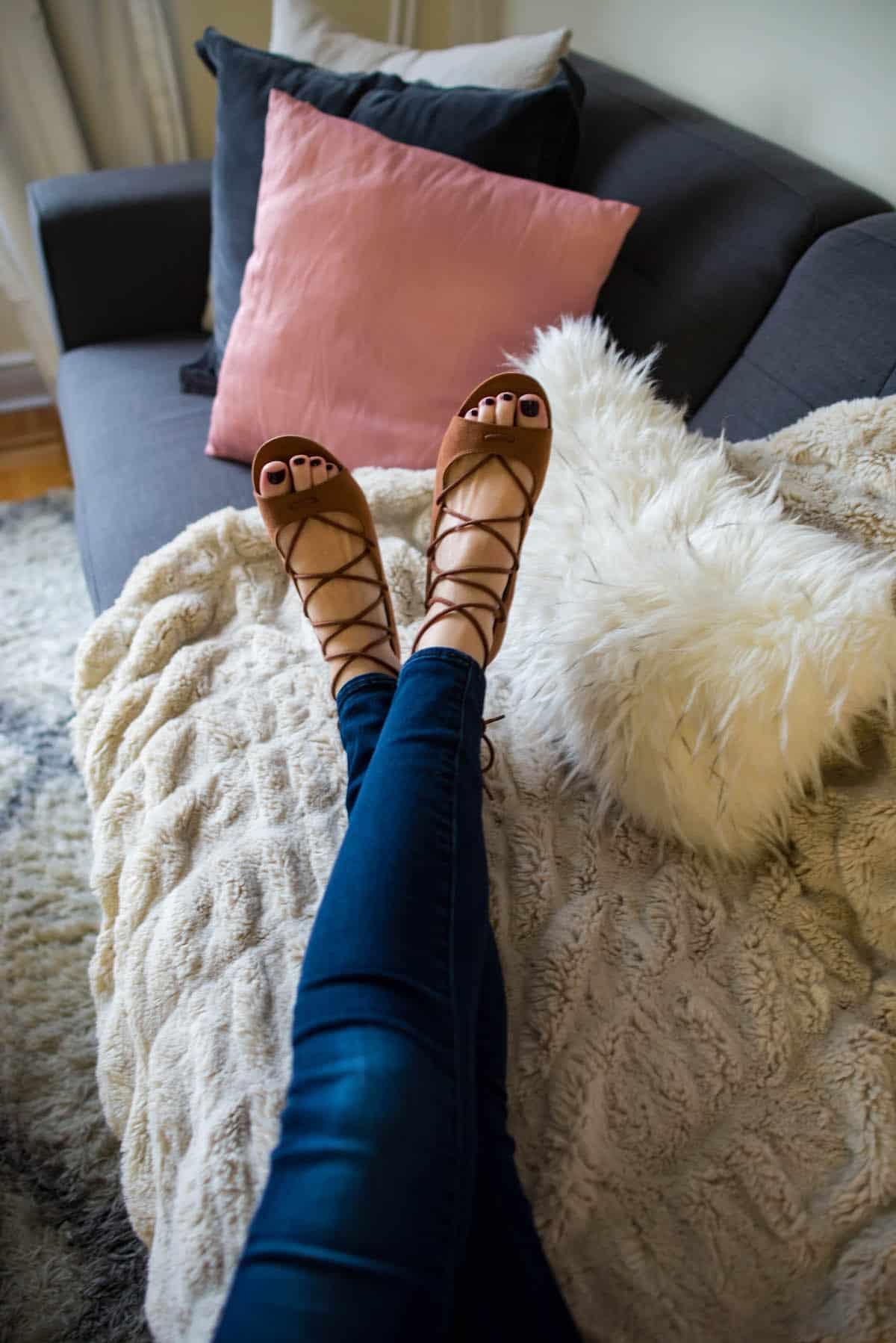 Laced Peep Toe Flats
