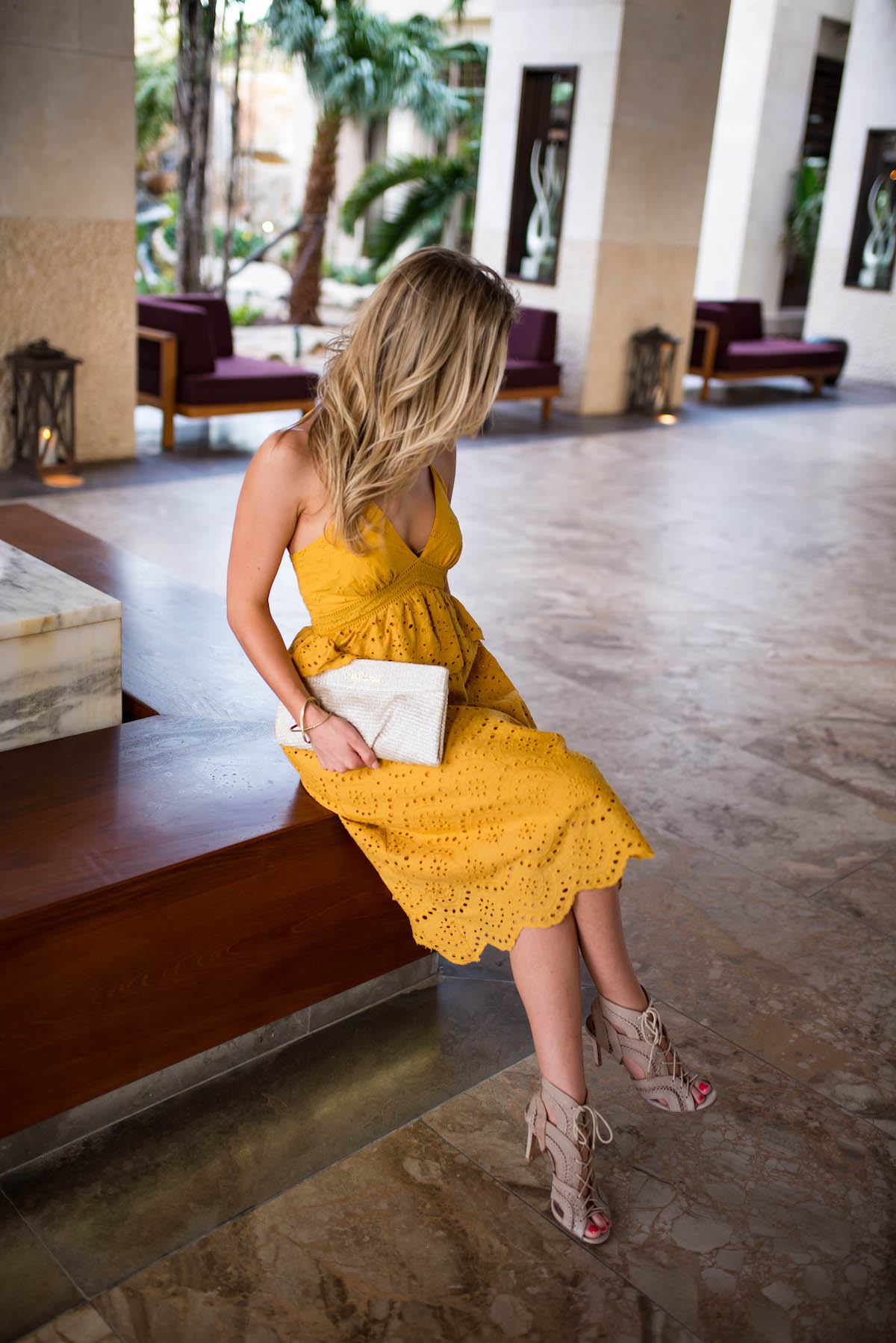Yellow Eyelet Midi Dress
