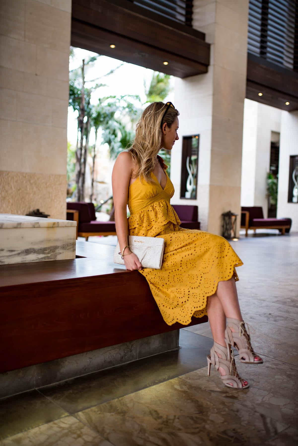 Yellow Eyelet Midi Dress