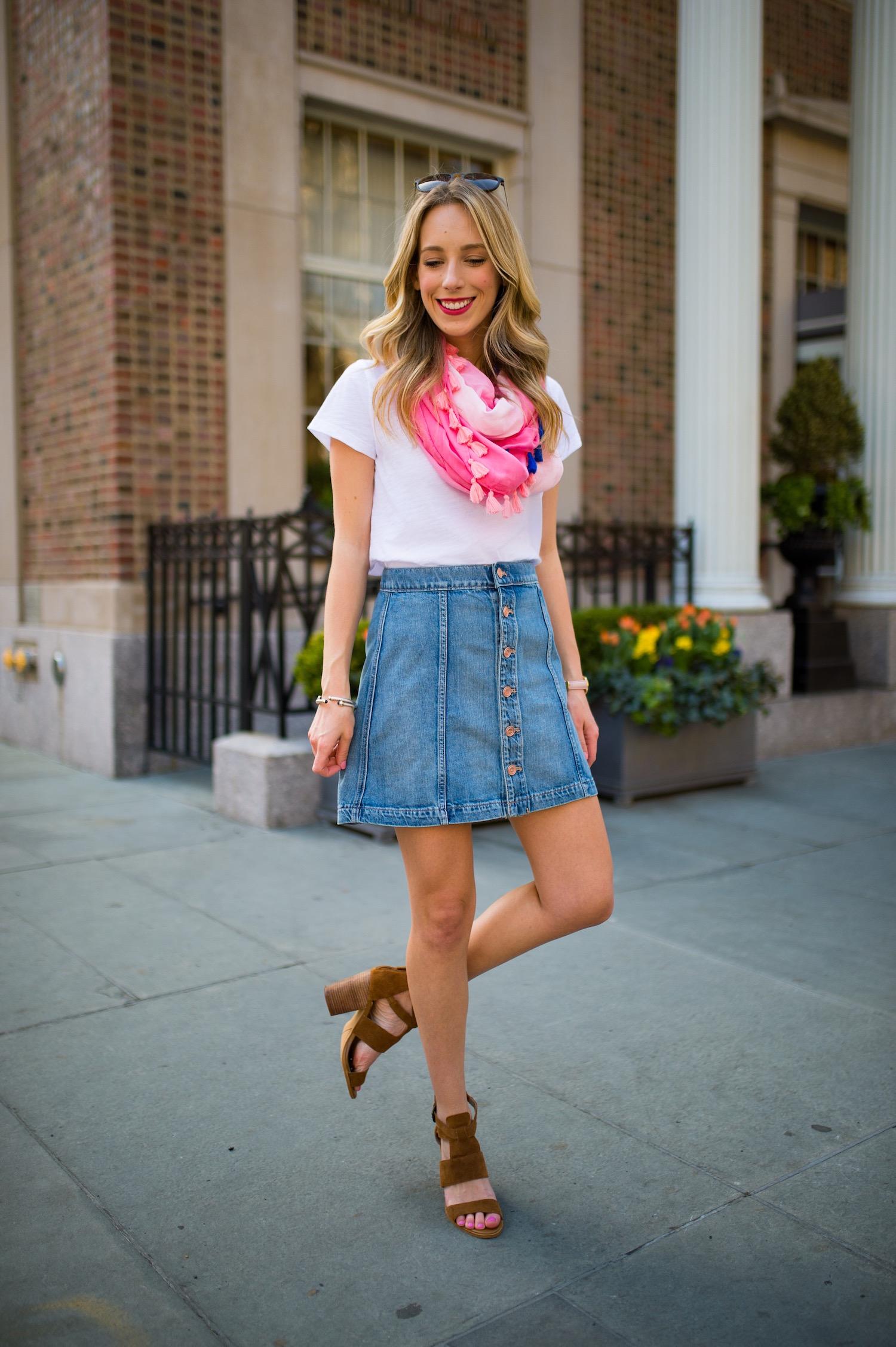 Express Karlie Kloss High Waisted A-Line Denim Mini Skirt
