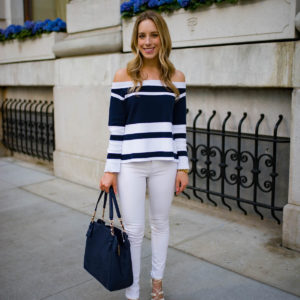 J. Crew Off The Shoulder Stripe Top